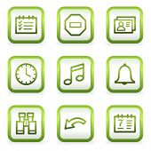 Organizer web icons, square buttons, green contour