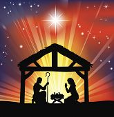 image of holy family  - Illustration of traditional Christian Christmas Nativity scene - JPG