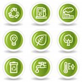 Ecology web icons set 1, green circle buttons