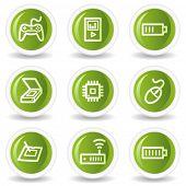 Electronics web icons set 2, green circle buttons