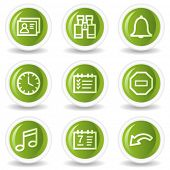 Organizer web icons, green circle buttons