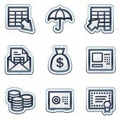 Banking web icons, deep blue contour sticker series