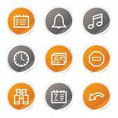 Organizer web icons, orange and grey stickers