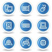 Computer web icons, blue glossy circle buttons