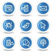 Internet web icons set 2, blue glossy circle buttons