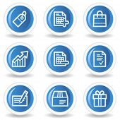 Shopping web icons set 1, blue glossy circle buttons