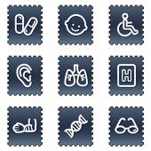 Medicine web icons set 2, navy stamp series