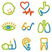 Conjunto de ícones de medicina 2, série de contorno de cor