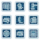 Finance web icons set 2, navy square buttons