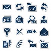 E-mail web icons, navy sticker series