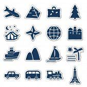 Travel web icons, navy sticker series