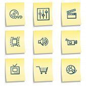 Video icons, yellow notes series
