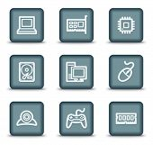 Computer web icons, grey square buttons