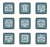 E-mail web icons set 2, grey square buttons