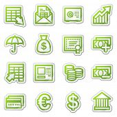 Banking web icons, green sticker series