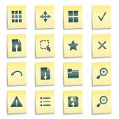 Image viewer web icons, yellow notes stickers