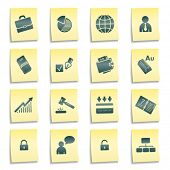 Business web icons, yellow notes stickers