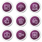 Travel web icons set 4, purple stickers series