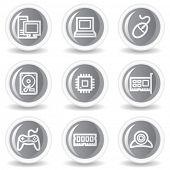 Computer  web icons, circle grey glossy button