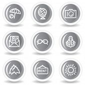 Travel web icons set 5, circle grey glossy buttons
