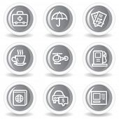 Travel web icons set 4, circle grey glossy buttons