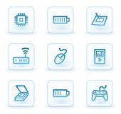 Electronics web icons set 2, white square buttons
