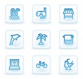 Vacation web icons, white square buttons