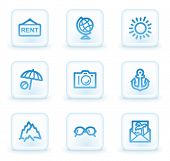 Travel web icons set 5, white square buttons