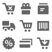Shopping web icons, grey solid series