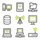 Network web icons, green and gray contour series