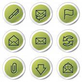 E-mail web icons, green circle stickers