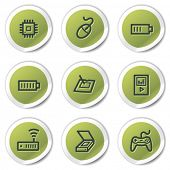 Electronics web icons set 2, green circle stickers