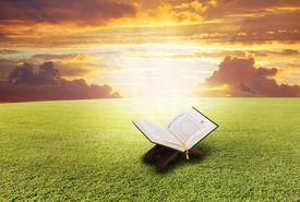stock photo of islamic religious holy book  - Holy book Koran - JPG