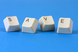 stock photo of keyboard keys  - The word SAVE formed with keyboard keys