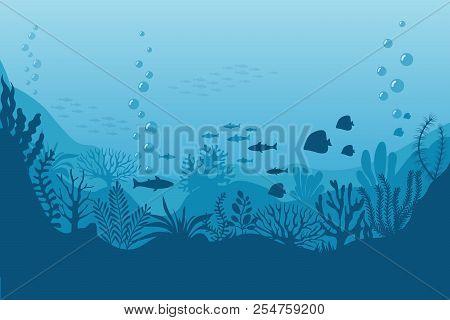 poster of Sea Underwater Background. Ocean Bottom With Seaweeds. Vector Marine Scene. Ocean Scene, Sea Underwa