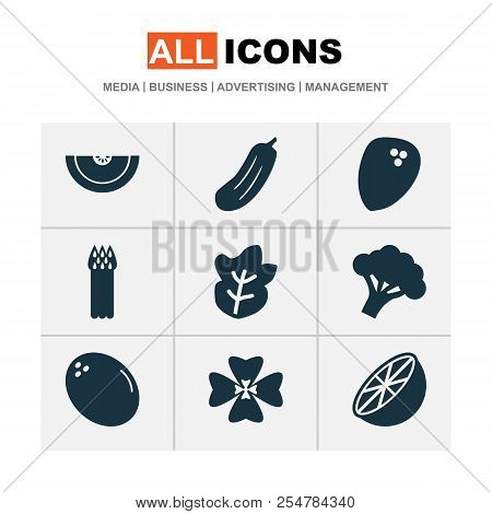 Food Icons Set With Virgin