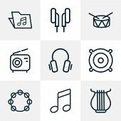 Audio Icons Line Style Set With Speaker, Notes, Headphone And Other Template  Elements. Isolated  Il poster