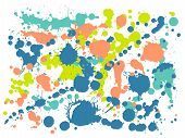 Watercolor Stains Grunge Background Vector. Hand Drawn Ink Splatter, Spray Blots, Dirt Spot Elements poster