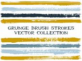 Long Ink Brush Strokes Isolated Design Elements. Set Of Paint Lines. Vintage Stripes, Textured Paint poster