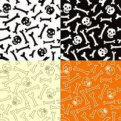 Skeletons Seamless Vector Pattern.