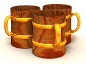 Three cups. 3d