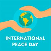 Hands Cover Earth Peace Day Background. Flat Illustration Of Hands Cover Earth Peace Day Vector Back poster