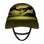 Modern Design Army Helmet Mockup. Realistic Illustration Of Modern Design Army Helmet Vector Mockup  poster