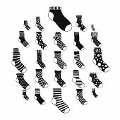 Socks Textile Icons Set. Simple Illustration Of 25 Socks Textile Icons For Web poster