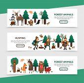 Flat Hunting Horizontal Banners With Hunters Birds Raccoon Deer Elk Beaver Frog Snake Fox Bear Wild  poster