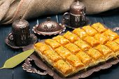 Turkish Ramadan Dessert Baklava. Macro Photography. Close Up. Object poster