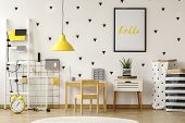 Poster In A Black Frame On A White Wall With Stickers In A Scandinavian Style Child Bedroom Interior poster