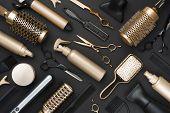 Full Frame Of Professional Hair Dresser Tools On Black Background poster
