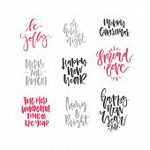 Christmas Lettering Collection. Unique Handdrawn Phrases For Christmas And New Year Invitations And  poster