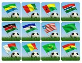 Fußball in das Gras und die Flagge gegen den blauen Himmel. Afrikanische Fahnen. 3D